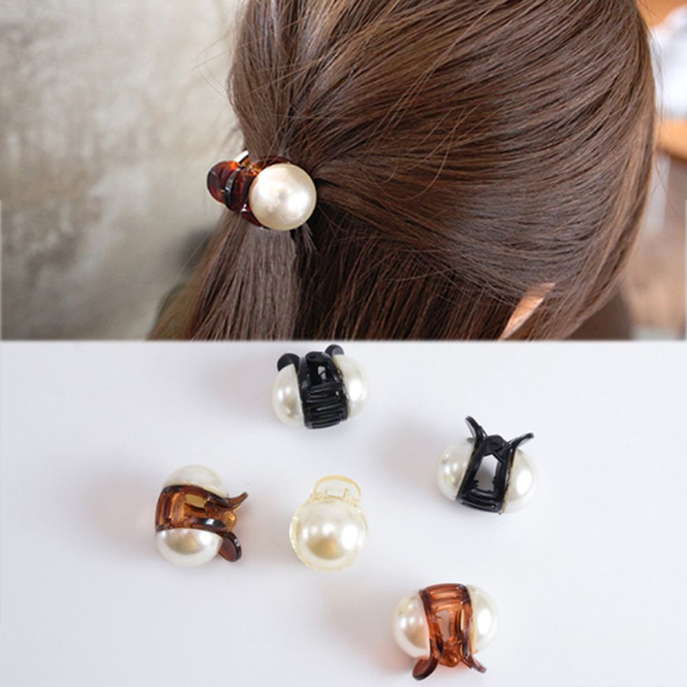 Korean Sweet Mini Round Pearl Hairpins For Women Girls Hair Claw Barrettes Hair Crab Clips Styling Make UP Tool Hair Accessories