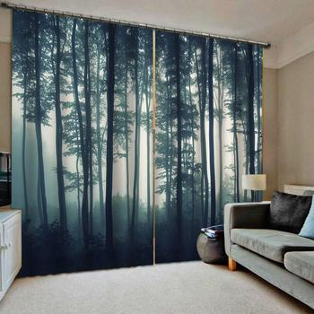forest  Curtain Luxury Blackout Window Curtain Living Room 3D Curtain blockout Polyester nature senery curtains