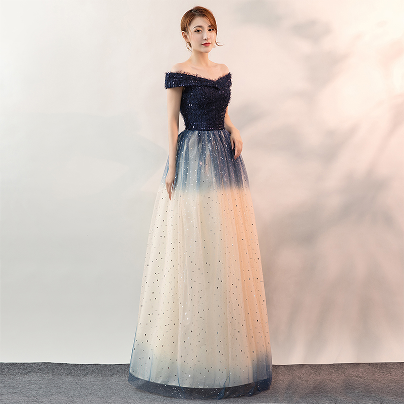 Quinceanera A-line Off The Shoulder prom dresses new arrive Navy Gradient color With sequins lace up back Masquerade Ball Gowns