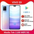 Оригинальный сотовый телефон VIVO S9 5G 6,44 ''90 Гц AMOLED экран UFS 3,1 Передняя 44 Мп задняя 64 мп 4000 мАч 33 Вт флэш-зарядка NFC Google