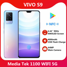 Original vivo s9 telefone celular 5g 6.44 90 90 90hz amoled tela ufs 3.1 frente 44mp traseiro 64mp 4000mah 33w flash carga nfc google