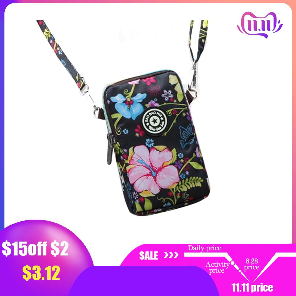 Korean Style Womens Shoulder Bag  Print Mobile Phone Messenger Running Arm Wrist Bags Sports Coin Purse With Zipper