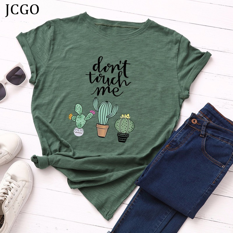 JCGO Summer Cotton Women T Shirt 5XL Plus Size Cactus Don't Touch Me Short Sleeve Woman Tees Top Casual O-Neck Female tShirts 1