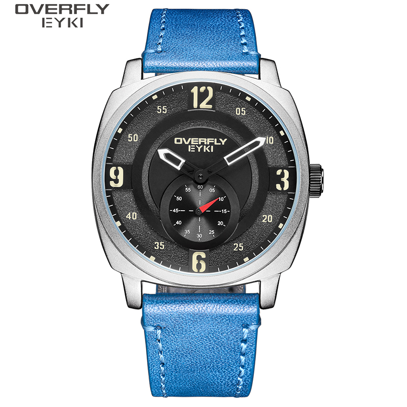 EYKI Brand Men Fashion Quartz Watch Waterproof Sports Watches Dual Display Watch Casual Leather Wristwatch Male Reloj Hombre
