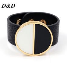Exaggerated club joker character geometric wide bracelet alloy leather fashion bracelets female black and white