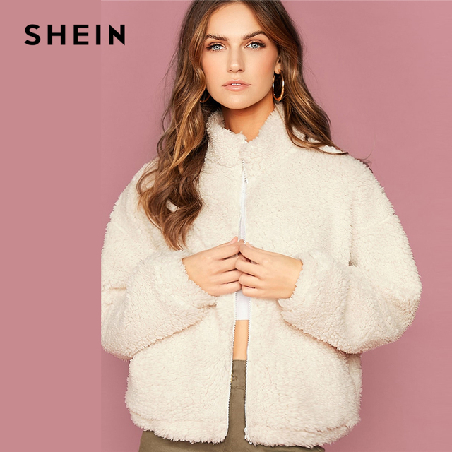SHEIN White Funnel Neck Drop Shoulder Teddy Jacket Women Coats Winter Streetwear Long Sleeve Zipper Front Ladies Casual Outwear