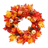60CM Autumn Holiday Artificial Maple Leaves Pumpkin Wreath Thanksgiving Day Halloween Front Door Wall Hanging Garland