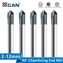 XCAN Chamfer End Mill 1pc 90 Degrees 2-12mm 2 Flute Chamfer Cutter Chamfer Router Bit Carbide Milling Cutter