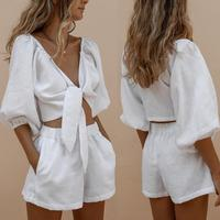 Summer Autumn Women Two piece sets Casual Linen Solid Lantern Sleeve Tops + Shorts Elastic Waist Wide Leg Short Suit Sets