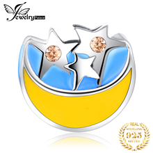 JewelryPalace Star Moon 925 Sterling Silver Beads Charms Silver 925 Original For Bracelet Silver 925 original Jewelry Making