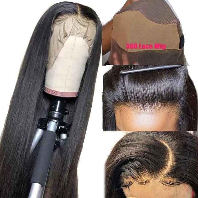 Nudos blanqueados transparente 360 peluca Frontal de encaje preplumado falso cuero cabelludo pelucas de encaje Invisible Hd pelucas de cabello humano Frontal Remy