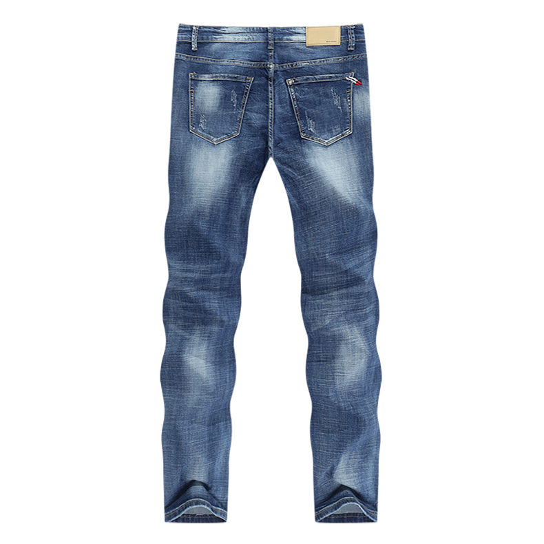 Jeans Men Light Blue Stretch Slim Straight Regular Fit Casual Jeans Male Denim Pants Male Long Trousers Top Quality Plus Size 40 12