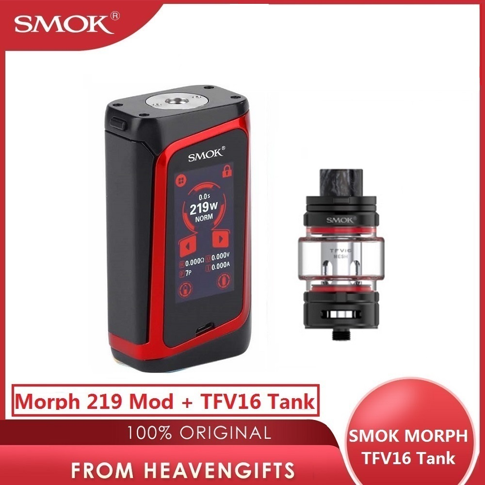 Original SMOK Morph 219 Mod 219W TC Box Mod 0.001s Firing Speed Big Screen SMOK Mod With 9ml SMOK TFV16 Tank Vs Drag 2/ Gen Mod