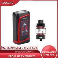 Originale SMOK Morph 219 Mod 219W TC Scatola Mod 0.001s Velocità di Cottura Grande Schermo SMOK Mod Con 9ml SMOK TFV16 Serbatoio vs Trascinare 2/gen Mod