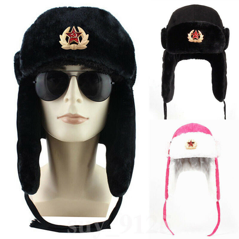 Russian Mens Army Hat Leather Bomber Caps Authentic Soviet Ushanka Russian Fur Hat Badge USSR Army Soldier Winter Warm Thick Cap