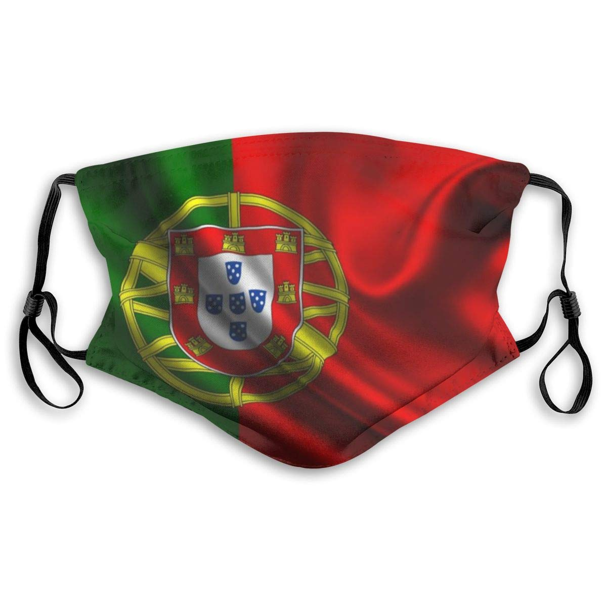 Portugal Flag Washable Reusable Mask, Anti Dust Half Face Mouth Mask For Kids Teens Men Women With Adjustable Ear Loops