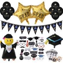 Adornos para fiesta de graduación favores caseta de fotos de graduación Props graduación globos Banner Cupcake Toppers Clase de 2020