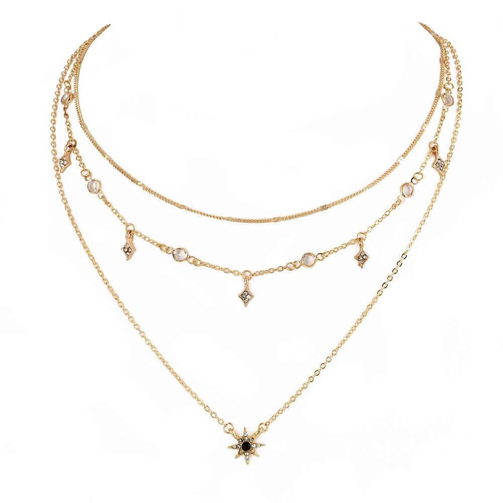Nowy damski wielowarstwowy wisiorek w kształcie gwiazdy naszyjnik łańcuch ręcznie robiony naszyjnik połączenie moda europejska i amerykańska