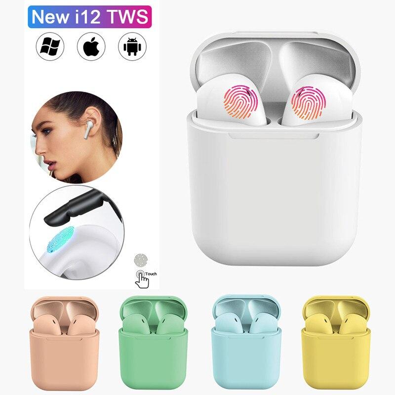 I12 Tws Matte Wireless Bluetooth Earphone Earbuds Hands Free Business Earpieces Headset Sport Bluetooth Music Earphone Earbuds