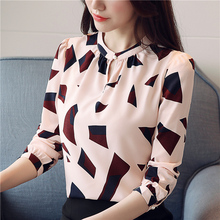Korean Fashion Women Chiffon Blouses Shirts Elegant Print Blouse Shirt Plus Size XXL OL Tops And