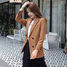 Women blazers female 2019 Chinese fashion long sleeve double breasted temperament khaki plus-size notched casual blazer