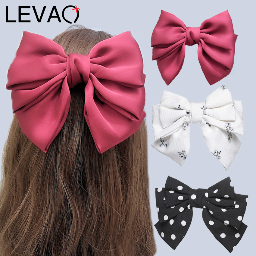 Levao Solid Hair Bow Ties Hairpins For Woman Headwear 3 Layers Bowknot Hair Clips Leopard/Dot/Print Barrettes Hair Accessories