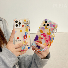 Cute Colorful Dots Love Heart For iPhone 12 mini 11 Pro Max X XR XS Max 7 8 Plus Wristband Chain Soft Cover Transparent Cases
