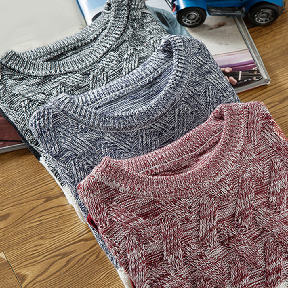 Winter Men O Neck Long Sleeve Color Block Patchwork Knitted Pullover Sweater Men's pattern patchwork round neck Sweater 3