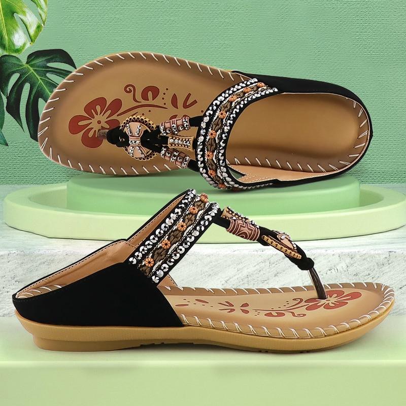 Flat sandals women shoes Flip Flops Sandals Soft Metal decoration Rhinestone ethnic style Elastic band Summer sandals 2021