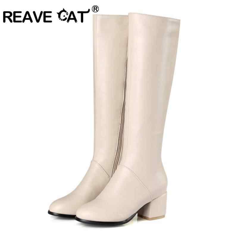 REAVE kedi kadın yuvarlak ayak kare kalın topuklu artı boyutu 32-45 diz yüksek Flats zapatos femininos fermuar Metal dekorasyon rahat
