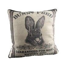 Funda de almohada Retro con diseño de conejo, decoración Vintage de algodón y lino para el sofá, funda de almohada de 16x16 pulgadas