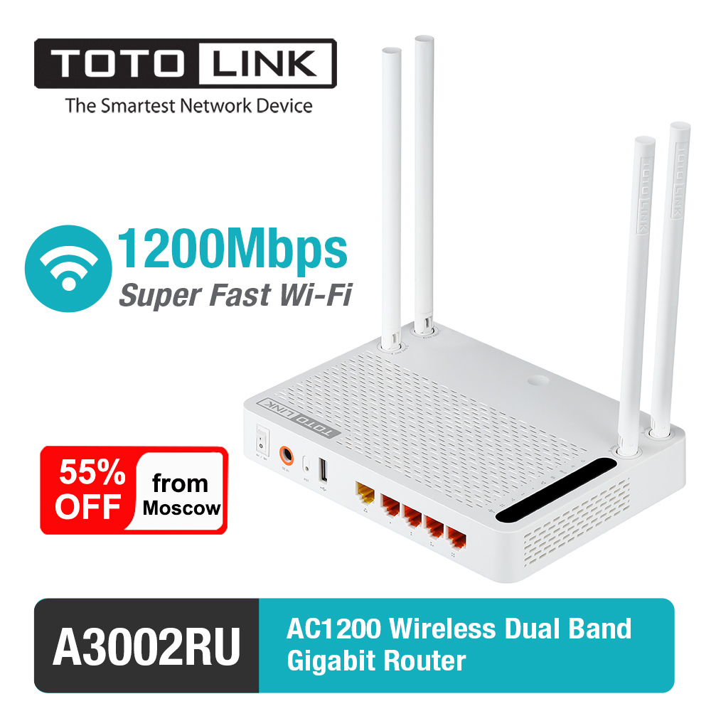 TOTOLINK Wifi Router A3002RU AC1200 Wireless Dual Band Gigabit Router with USB Port Wireless Routers Deliver from Russia image