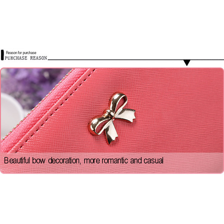 Vogvigo Bowknot Coin Purses for Women Girls Gift PU Leather Buckle Wallets Key Bag Clutch Card Holder Organiser in Wallets from Luggage Bags
