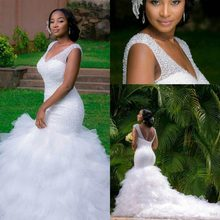 Mermaid Plus Size Wedding Dresses 2016 Deep V Neck Beaded Sequins Layers Ruffles Chapel Train Lace Up Back Bridal Gowns(China)