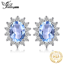 Classic Princess Diana Natural Blue Topaz Stud Earrings Genuine 925 Sterling Silver Fine Jewelry For Women Fashion Earrings 2016 elegant silver topaz stud earrings 4 mm 6 mm natural vvs topaz stud earrings solid 925 silver topaz earrings for wedding