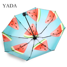Mini Pocket Umbrellas Parasol Watermelon Rain 5-Folding Womens Fruit 8 Bones YADA
