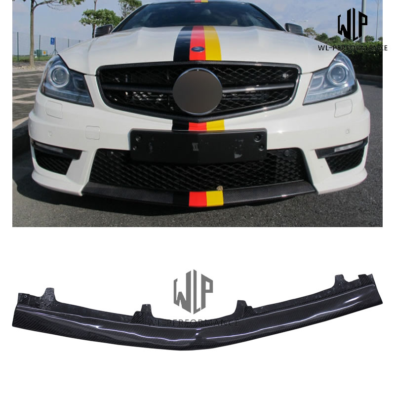 <font><b>W204</b></font> High Quality Carbon Fiber Little <font><b>Front</b></font> <font><b>Lip</b></font> Splitter Car Styling For Mercedes <font><b>Benz</b></font> C Class <font><b>W204</b></font> C63 Car Body Kit 2011-2014 image