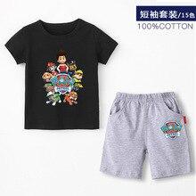 Paw סיירת חדש 2019 בנות תינוק בגדי אביב קיץ לנשימה כותנה לילדים חולצה קצר שרוול חליפת ילדים ללבוש