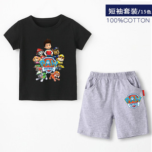 Image 1 - Paw patrol New 2019 Girls Baby Clothing spring  summer Breathable cotton T shirt childrens short sleeve suit childrens wear