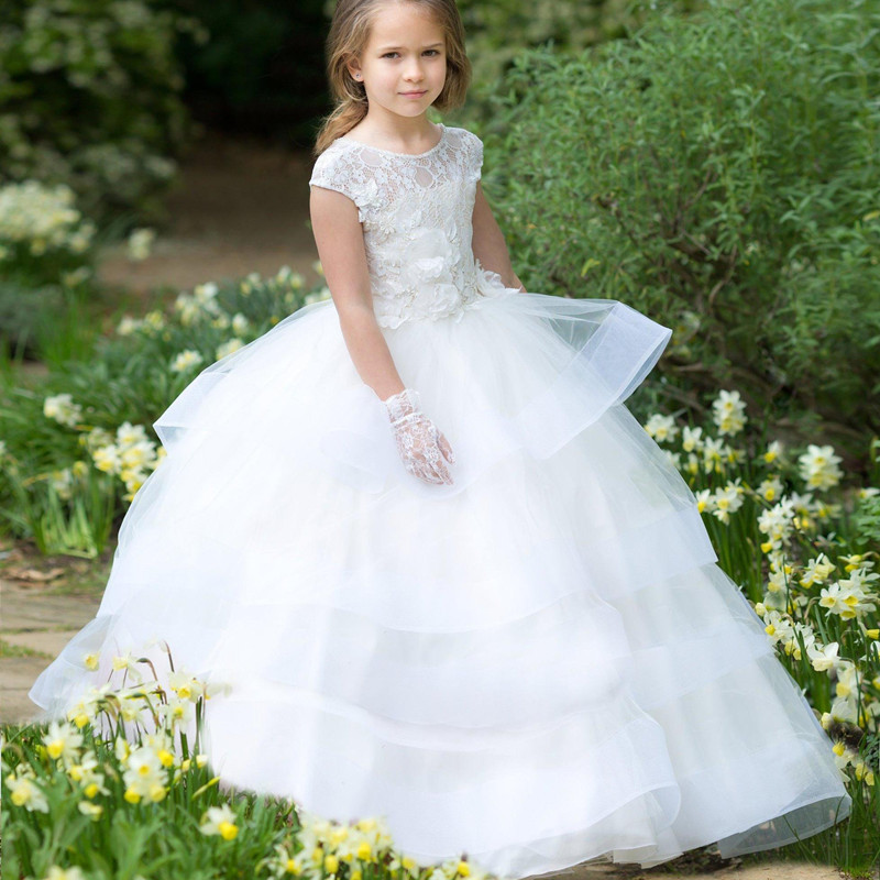 White Flower Girl Dress Lace Wedding First Communion Baptism Princess Special Formal Occasion A Line Birthday Party Dress