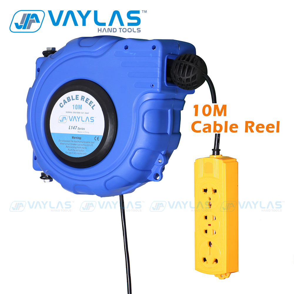 VAYLAS Automatic 10M Electric Cable Reel Power Supply Hose Reel Automatic Retractable Wire Hose Telescopic Cable Drum Store Tool