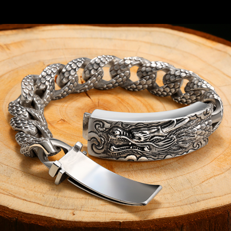Thai Silver Bracelet Chinese Dragon 925 Sterling Silver Vintage Chain & Link S925 Bracelet