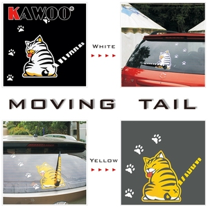 Image 5 - KAWOO Waterproof Car Stickers Cartoon Funny Moving Tail Cat Stickers Car Styling Window Wiper Decals Rear Windshield Sticker
