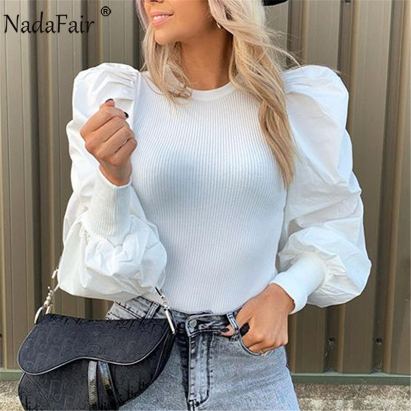 Nadafair Puff Sleeve Tops O Neck Casual Knitted Woman TShirt Black White Slim Autumn Long Sleeve Tee Shirts(China)