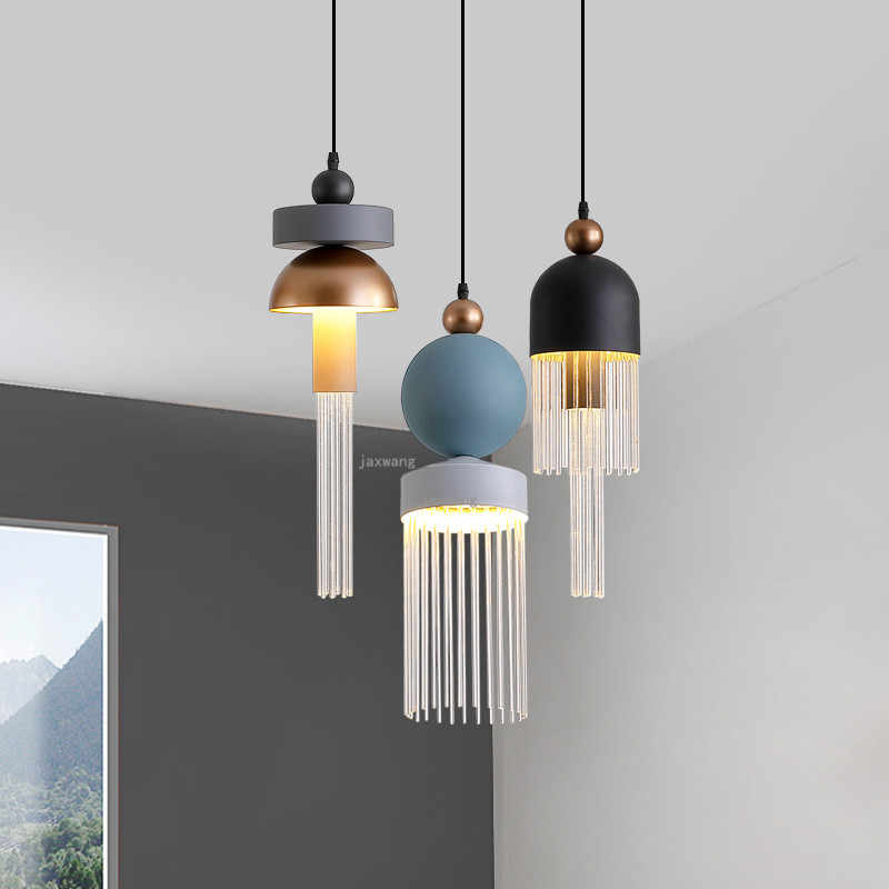 Nordic LED Glass Light Fixtures Bedroom Bedside Hanging Lamp Restaurant Minimalist Chandelier Lighting Lustre Kitchen Chandelier