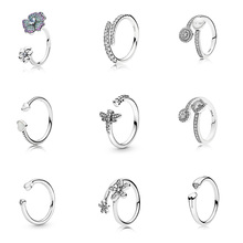 Silver Color Ring Charms  Crystal Heart Flower Dragonfly Round Open Finger Ring For Women Party Jewelry
