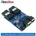 Гигабитный коммутатор эфирной сети 2 RJ45 UTP 2 SC волокно гигабитные волоконно-оптический медиа конвертер 2SC 2RJ45 коммутатора Ethernet 10/100/1000M печатно...