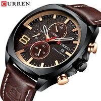 Top Marke CURREN Luxus Männer Uhr Lederband Sport Quarz Chronograph Militär Uhr Männer Uhr Wasserdicht Relogio Masculino-in Quarz-Uhren aus Uhren bei