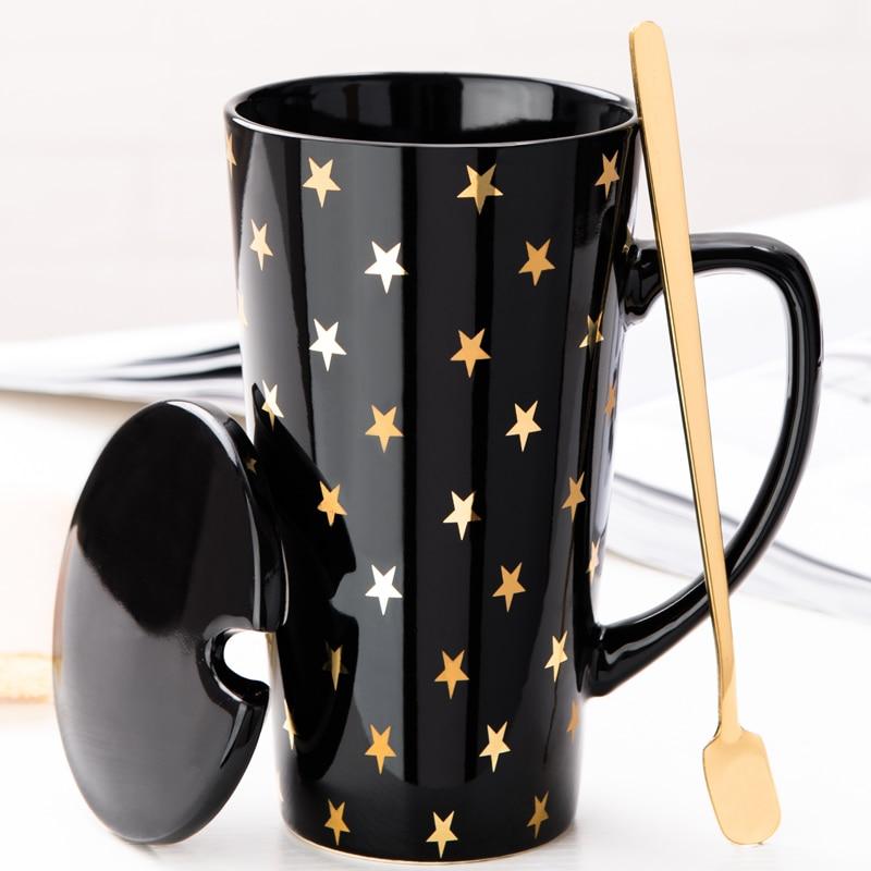 Tasse à café en céramique avec couvercle cuillère bureau moderne Original céramique impression porcelaine tasse Kaffeetasse écrivain tasse rose 400ml HH50MK