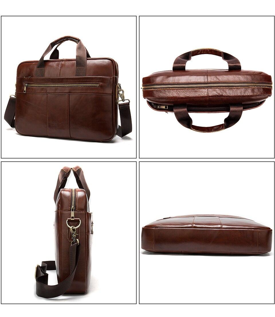 WESTAL hommes porte-documents sac hommes en cuir véritable pochette d'ordinateur fourre-tout d'affaires pour document bureau ordinateur portable sac à bandoulière 8523 - 4